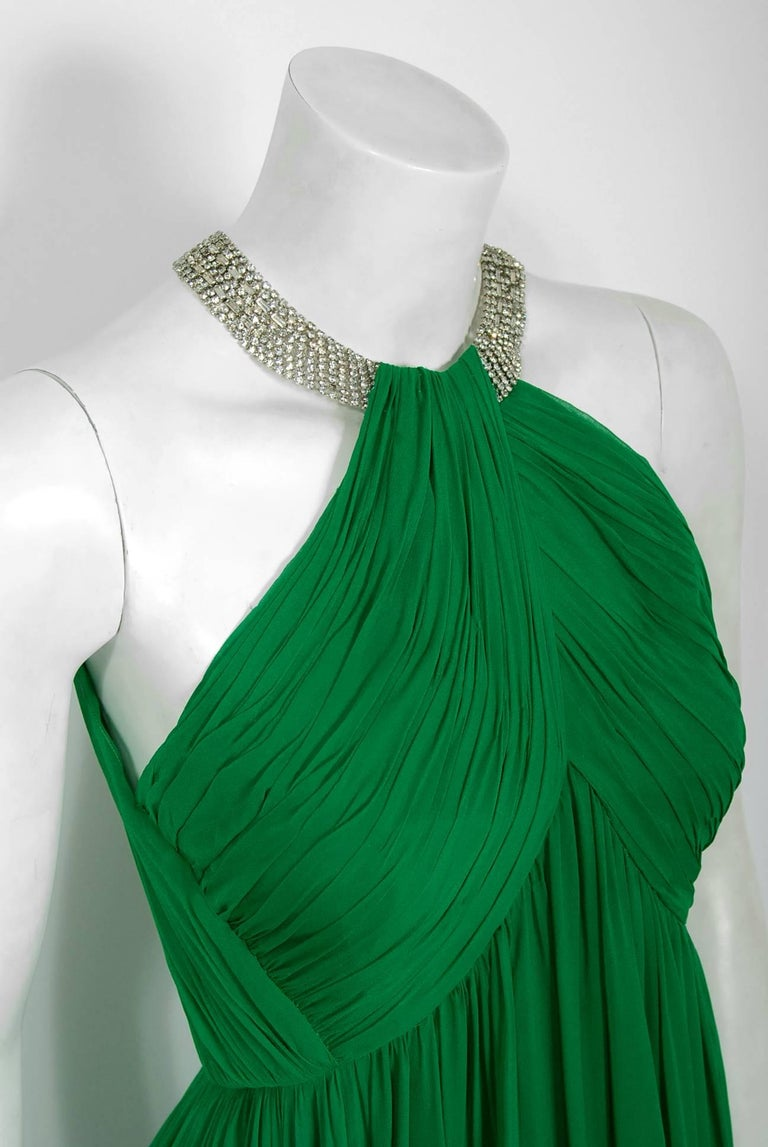 1960's Malcolm Starr Emerald-Green Draped Silk Chiffon Rhinestone Goddess Gown  In Excellent Condition For Sale In Beverly Hills, CA