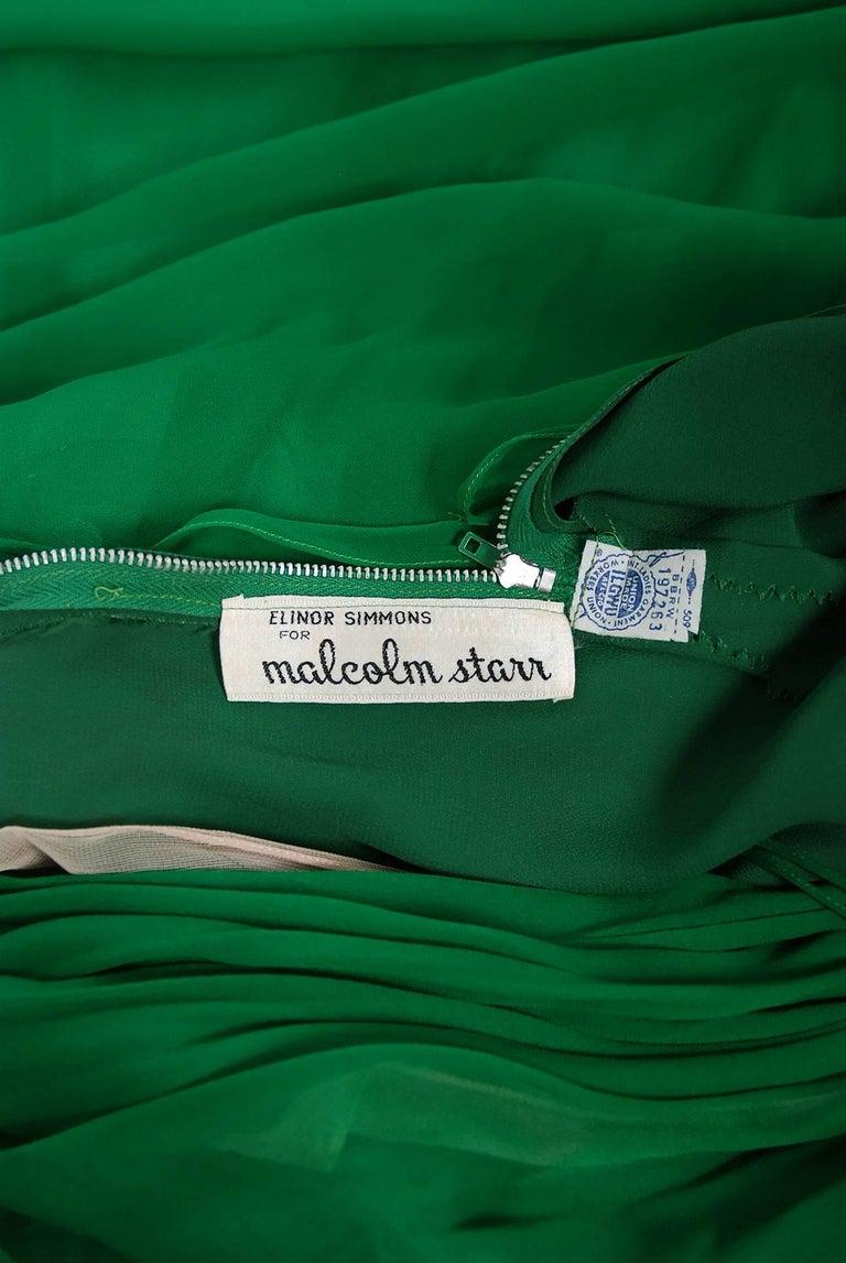 1960's Malcolm Starr Emerald-Green Draped Silk Chiffon Rhinestone Goddess Gown  6