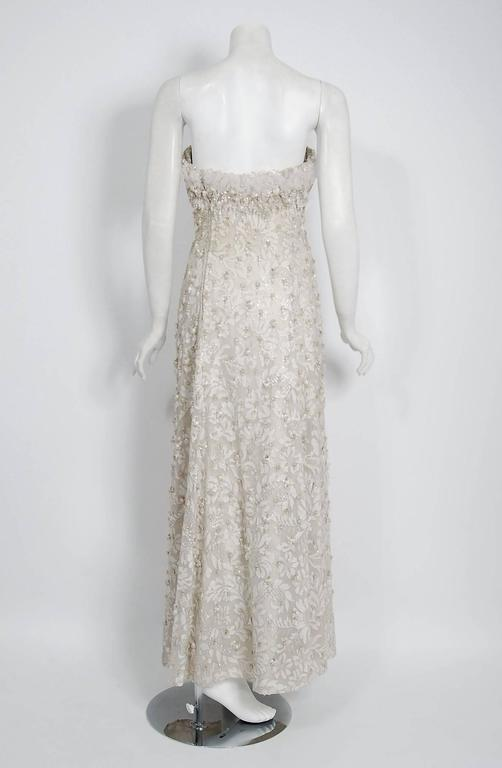 1963 Pierre Balmain Haute Couture Ivory Beaded Metallic Lace Strapless Gown For Sale 1