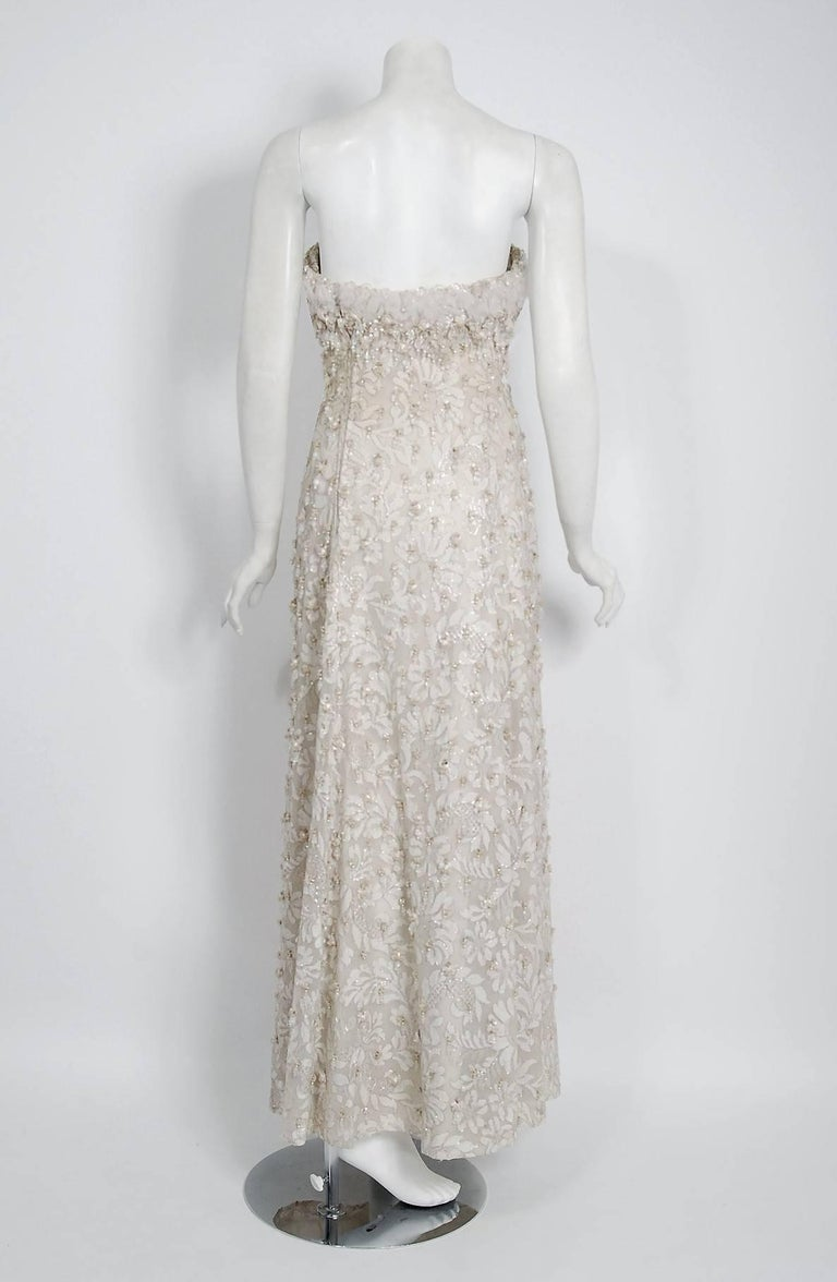 Vintage 1965 Pierre Balmain Couture Ivory Beaded Lace Strapless Bridal Gown For Sale 1
