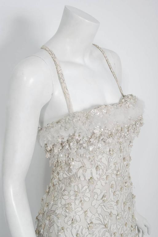 Women's 1963 Pierre Balmain Haute Couture Ivory Beaded Metallic Lace Strapless Gown For Sale