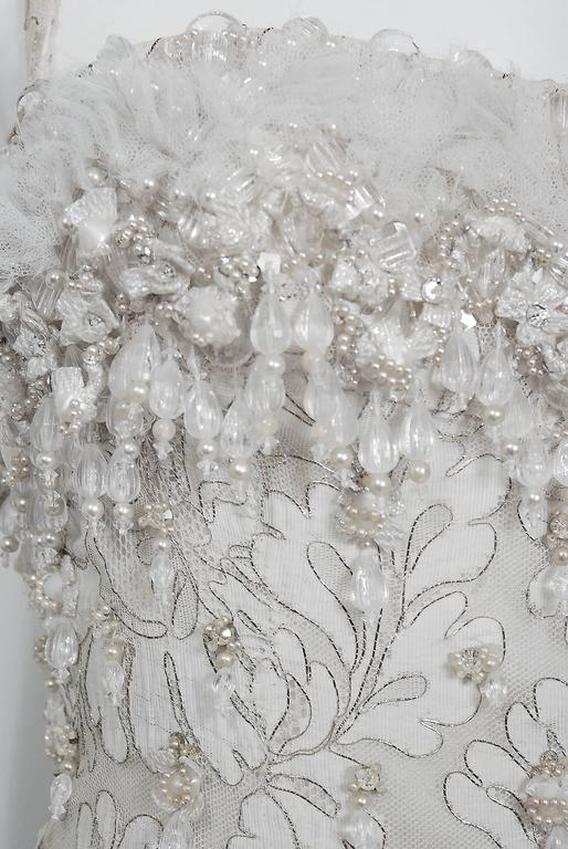 Gray 1963 Pierre Balmain Haute Couture Ivory Beaded Metallic Lace Strapless Gown For Sale