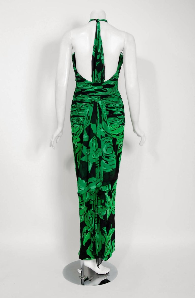 Vintage 1979 Valentino Green Roses Floral Draped Silk Criss-Cross Halter Gown For Sale 1