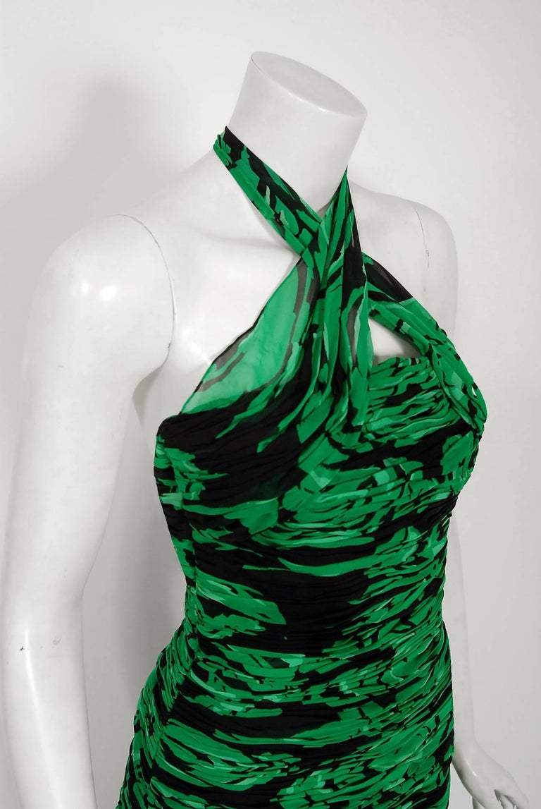 Vintage 1979 Valentino Green Roses Floral Draped Silk Criss-Cross Halter Gown In Good Condition For Sale In Beverly Hills, CA