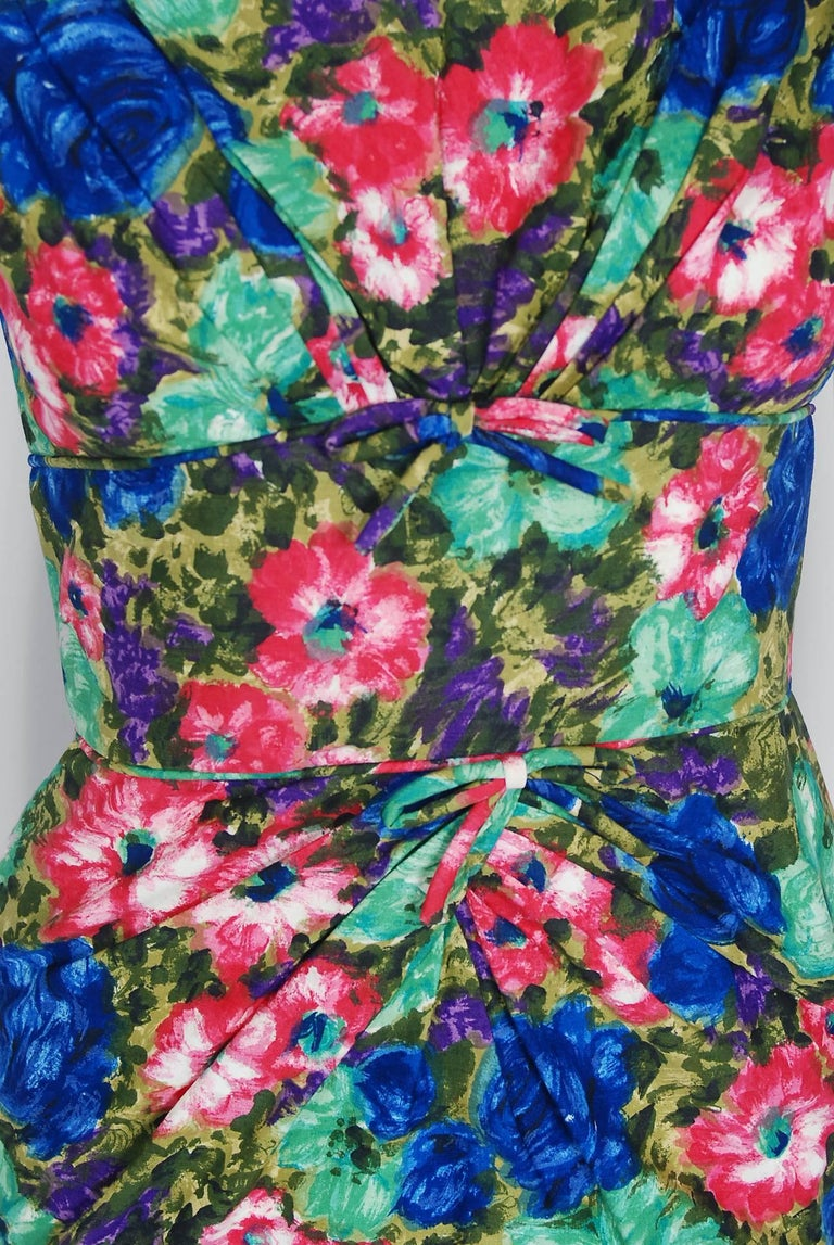 1950's Ceil Chapman Watercolor Rose Floral Print Cotton Shelf-Bust Wiggle Dress In Excellent Condition For Sale In Beverly Hills, CA