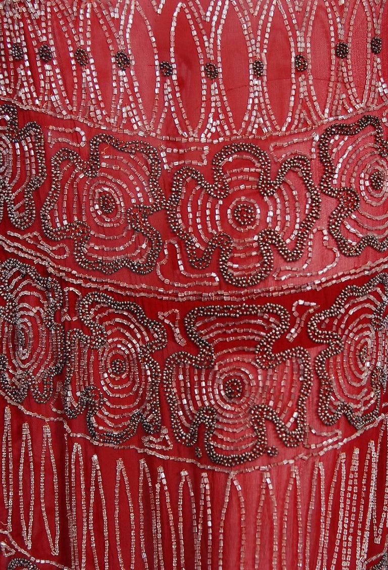 1920's Burgundy Red Beaded Art Deco Floral Silk Scarf-Tie Couture Flapper Dress For Sale 1