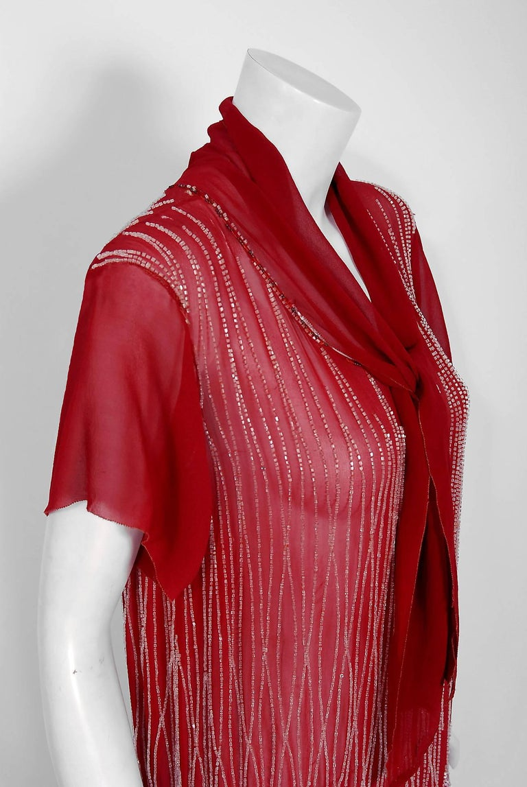 1920's Burgundy Red Beaded Art Deco Floral Silk Scarf-Tie Couture Flapper Dress In Excellent Condition For Sale In Beverly Hills, CA