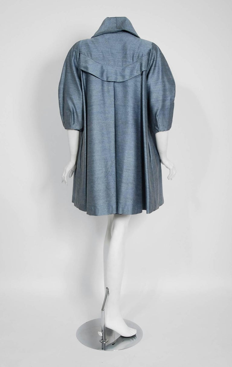 1960's Baby-Blue Stripe Silk Sleeveless Cocktail Dress & Puff-Sleeve Swing Coat 6