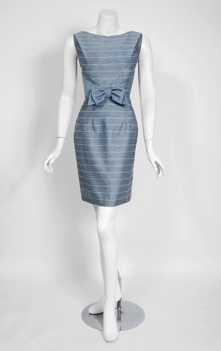 1960's Baby-Blue Stripe Silk Sleeveless Cocktail Dress & Puff-Sleeve Swing Coat 2