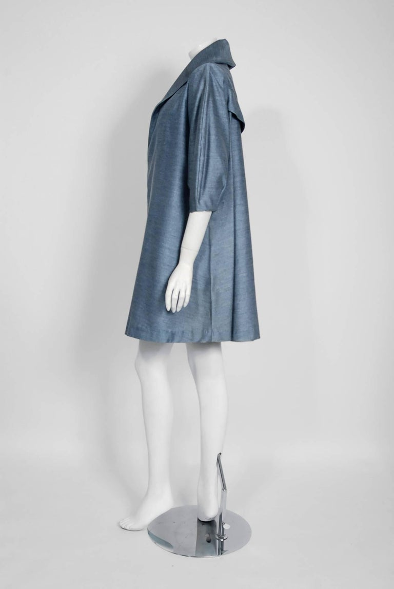 1960's Baby-Blue Stripe Silk Sleeveless Cocktail Dress & Puff-Sleeve Swing Coat 5