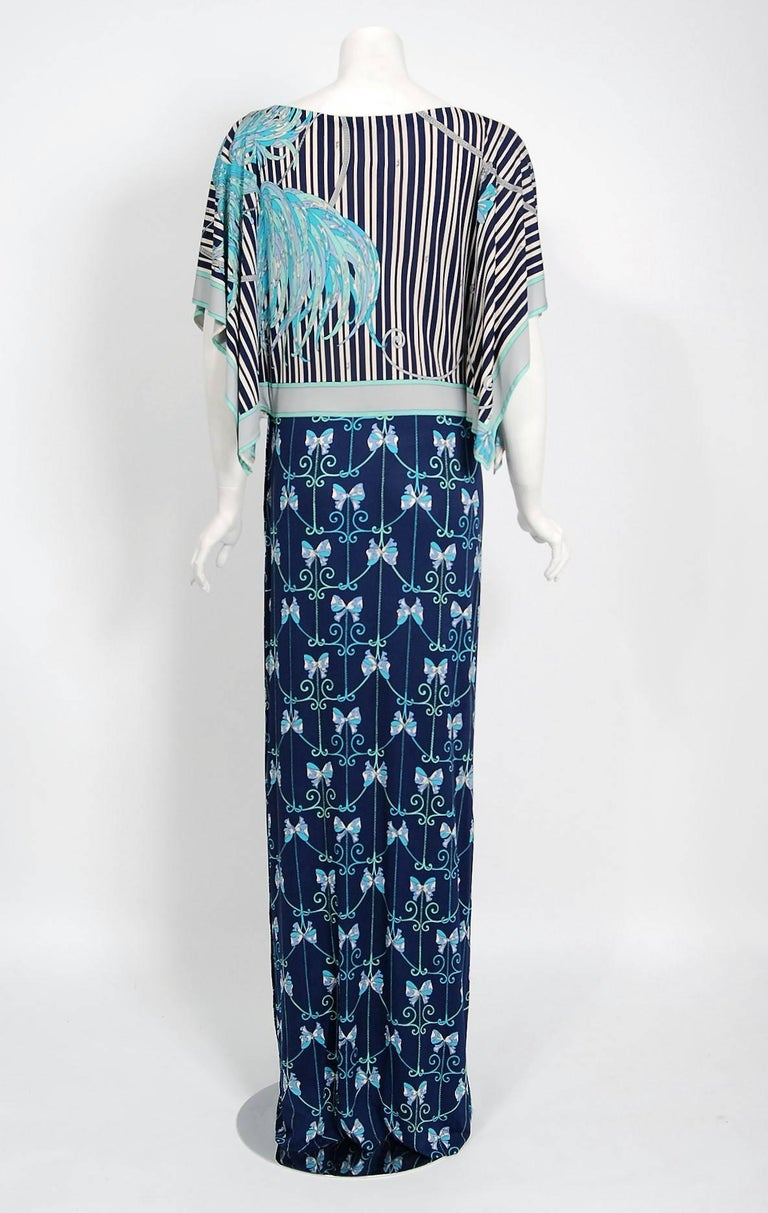 Women's 1974 Emilio Pucci Blue Peacock Novelty Print Silk Handkerchief Sleeve Maxi Dress For Sale