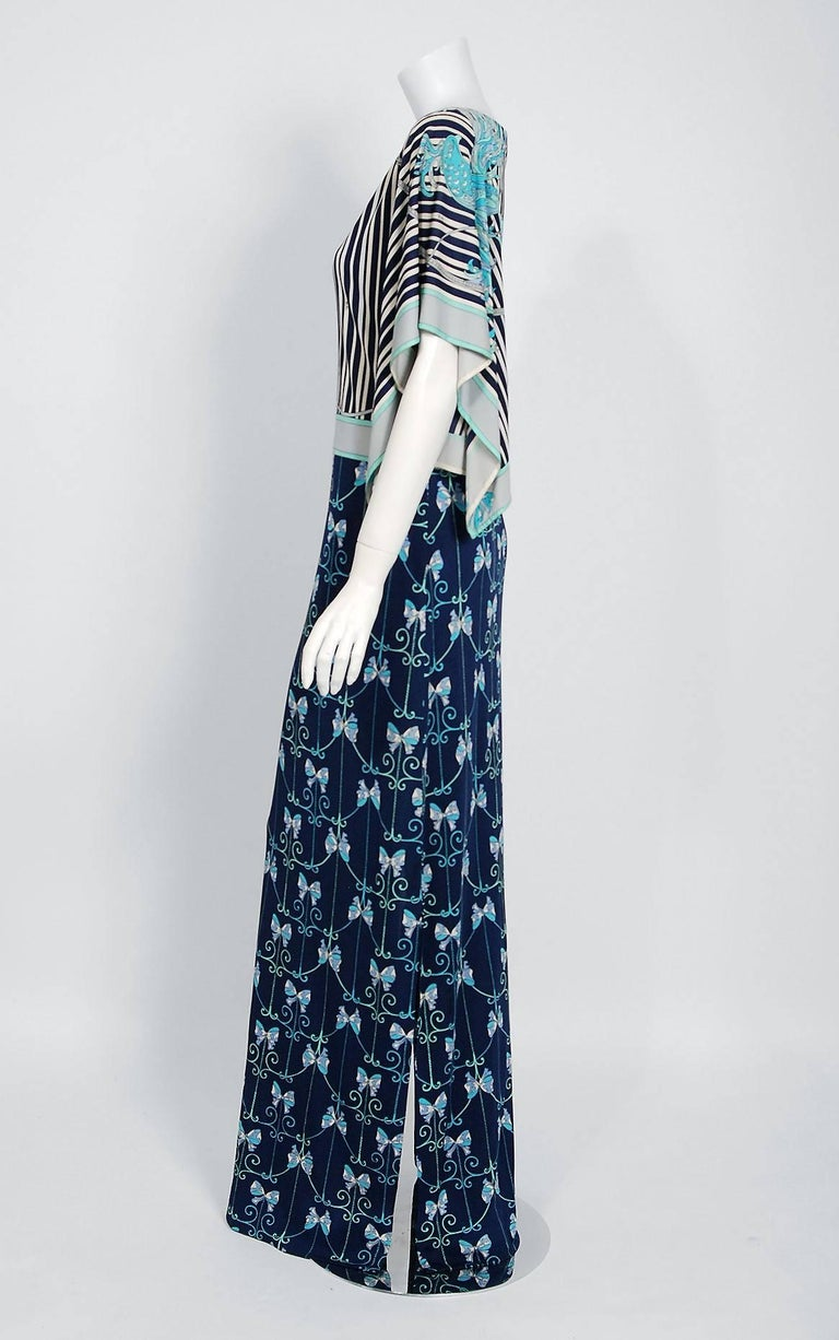 1974 Emilio Pucci Blue Peacock Novelty Print Silk Handkerchief Sleeve Maxi Dress In New Never_worn Condition For Sale In Beverly Hills, CA
