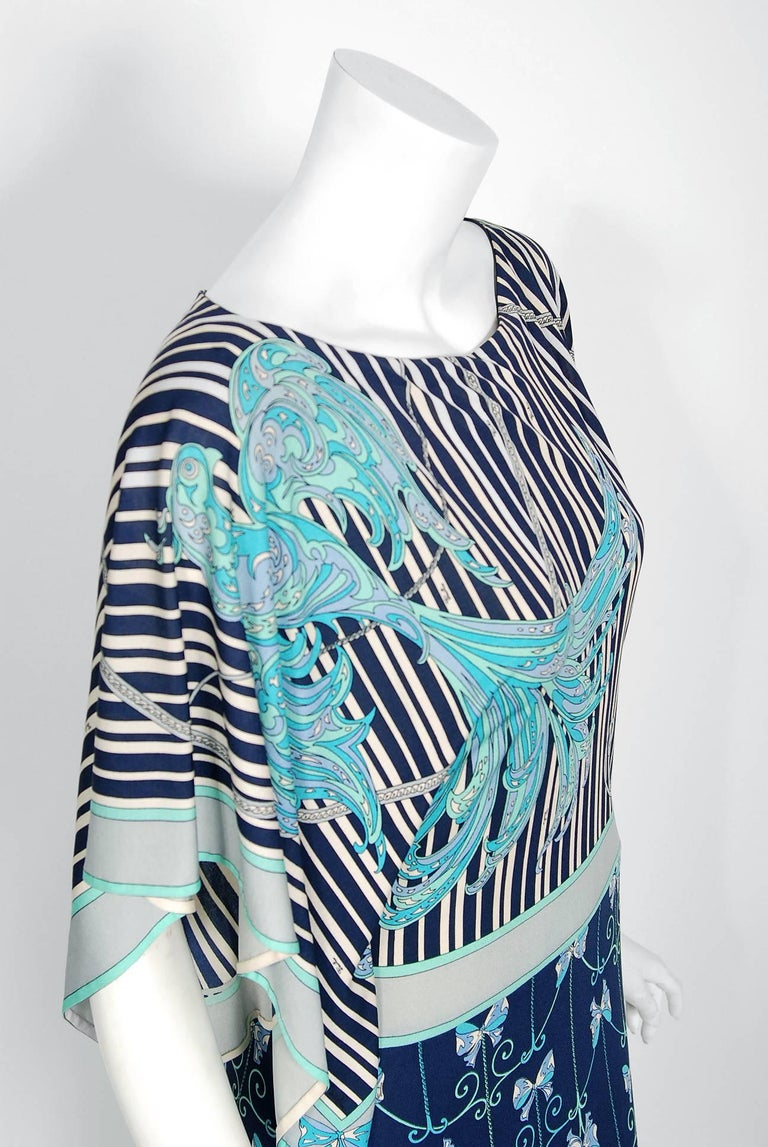 Black 1974 Emilio Pucci Blue Peacock Novelty Print Silk Handkerchief Sleeve Maxi Dress For Sale