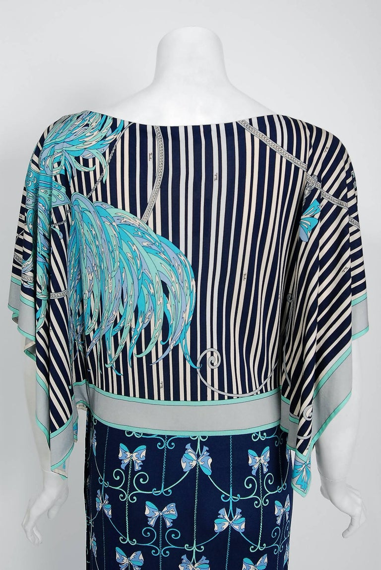 1974 Emilio Pucci Blue Peacock Novelty Print Silk Handkerchief Sleeve Maxi Dress For Sale 1