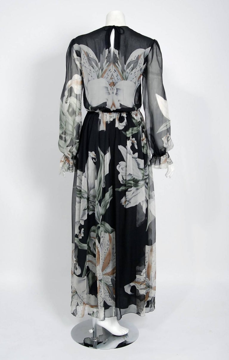 1977 Hanae Mori Couture Black Floral Print Silk-Chiffon Goddess Gown w/Tags For Sale 1
