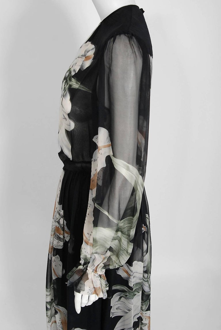 Women's 1977 Hanae Mori Couture Black Floral Print Silk-Chiffon Goddess Gown w/Tags For Sale