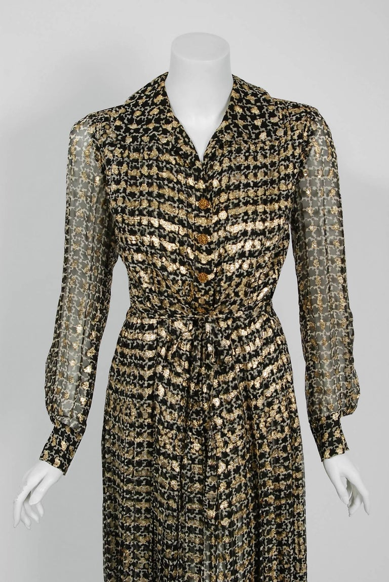 1975 Chanel Haute-Couture Metallic Black White Graphic Pleated Silk Belted Dress 2