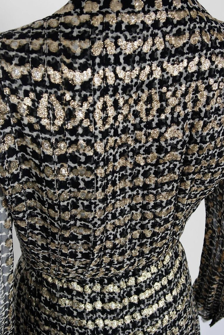 1975 Chanel Haute-Couture Metallic Black White Graphic Pleated Silk Belted Dress 7