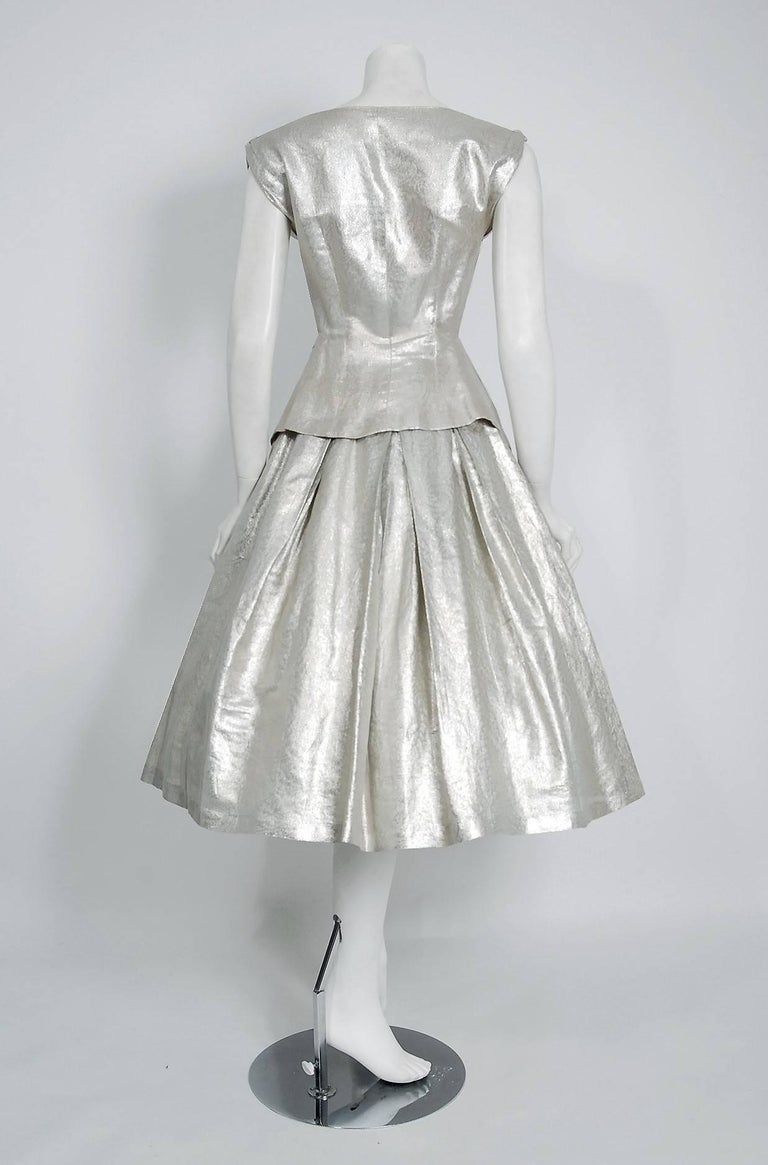 1950's Suzy Perette Metallic Silver Lame Sculpted Full Circle-Skirt Party Dress For Sale 1