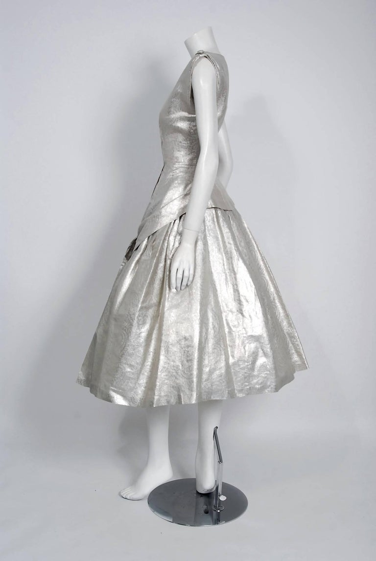 1950's Suzy Perette Metallic Silver Lame Sculpted Full Circle-Skirt Party Dress 4
