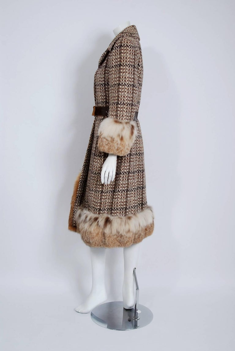 Women's 1970 Christian Dior Documented Wool Tweed & Lynx Fur Belted Princess Coat For Sale