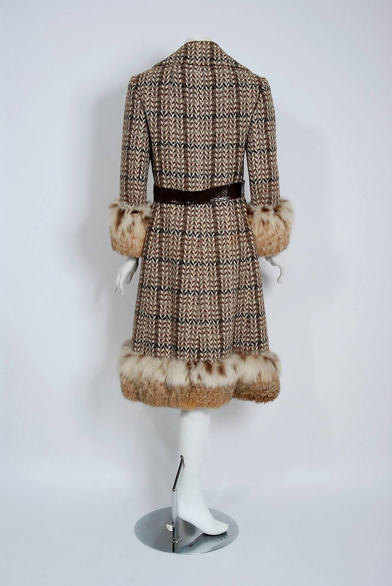1970 Christian Dior Documented Wool Tweed & Lynx Fur Belted Princess Coat For Sale 1