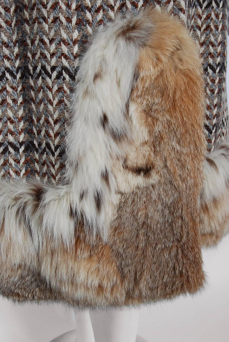1970 Christian Dior Documented Wool Tweed & Lynx Fur Belted Princess Coat In Excellent Condition For Sale In Beverly Hills, CA