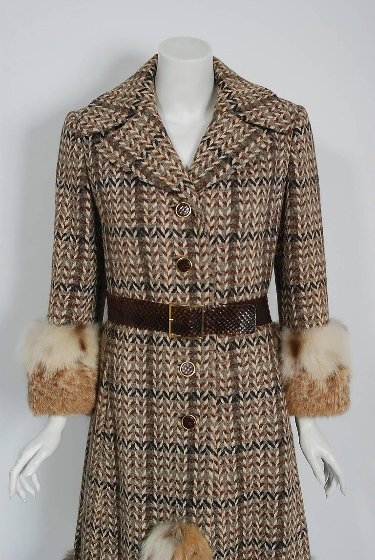 Brown 1970 Christian Dior Documented Wool Tweed & Lynx Fur Belted Princess Coat For Sale