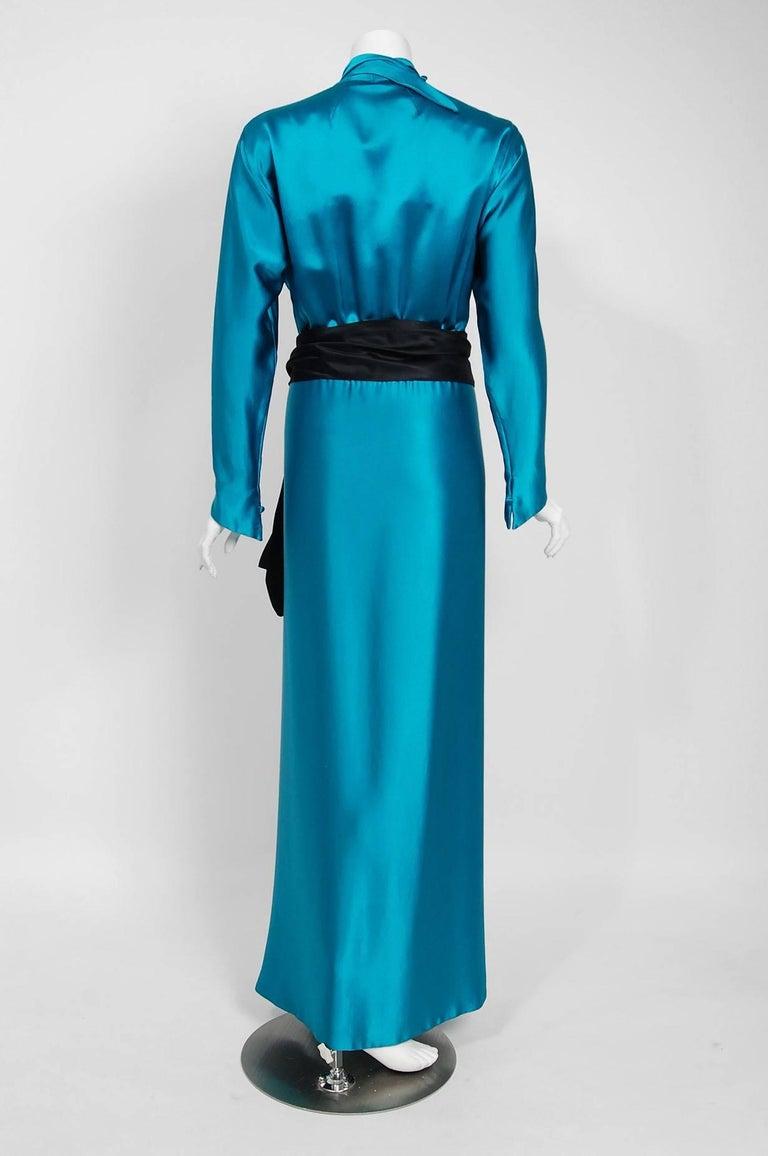 1978 Halston Couture Teal Blue Draped Silk Satin Long