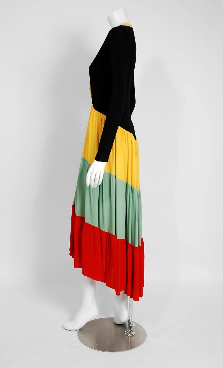 1971 Ossie Clark Couture Traffic Light Block-Color Tiered Crepe Plunge Dress 5
