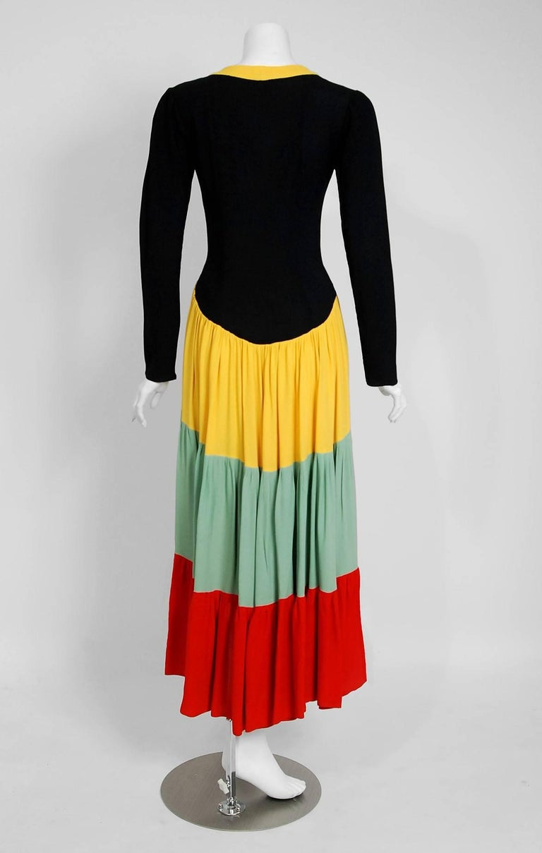 1971 Ossie Clark Couture Traffic Light Block-Color Tiered Crepe Plunge Dress 6