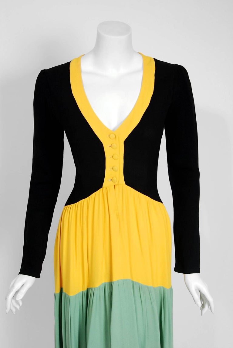 1971 Ossie Clark Couture Traffic Light Block-Color Tiered Crepe Plunge Dress 3