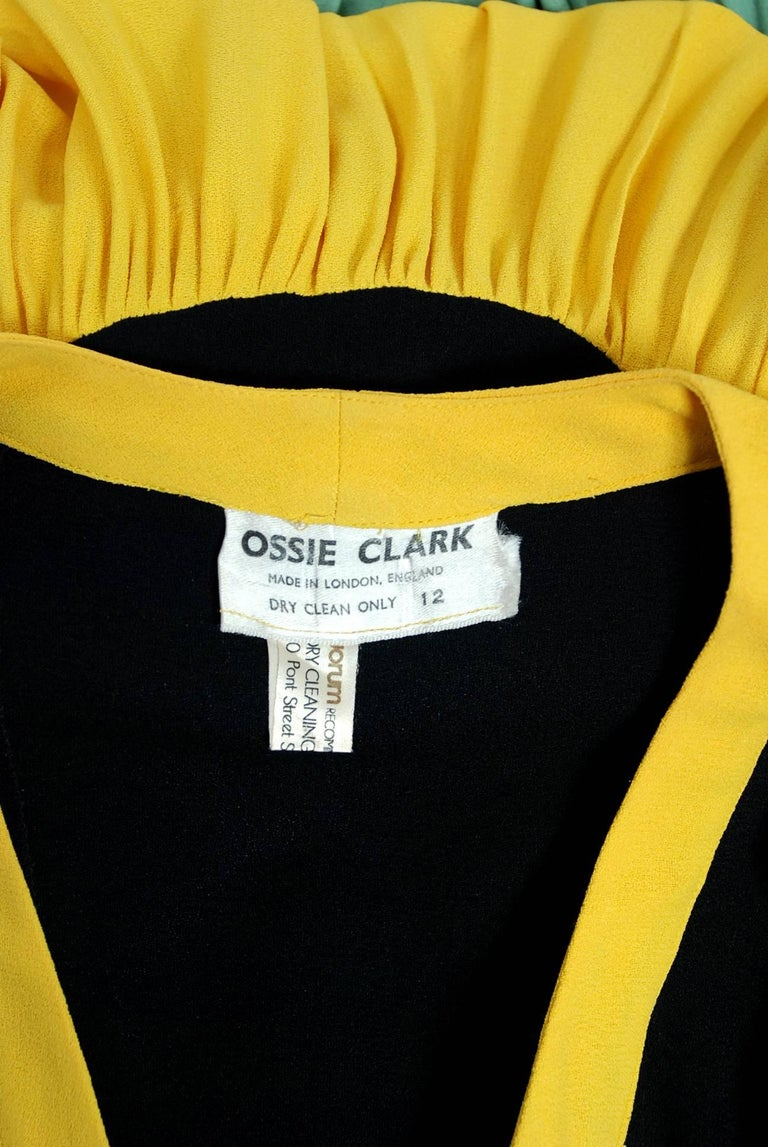 1971 Ossie Clark Couture Traffic Light Block-Color Tiered Crepe Plunge Dress 7