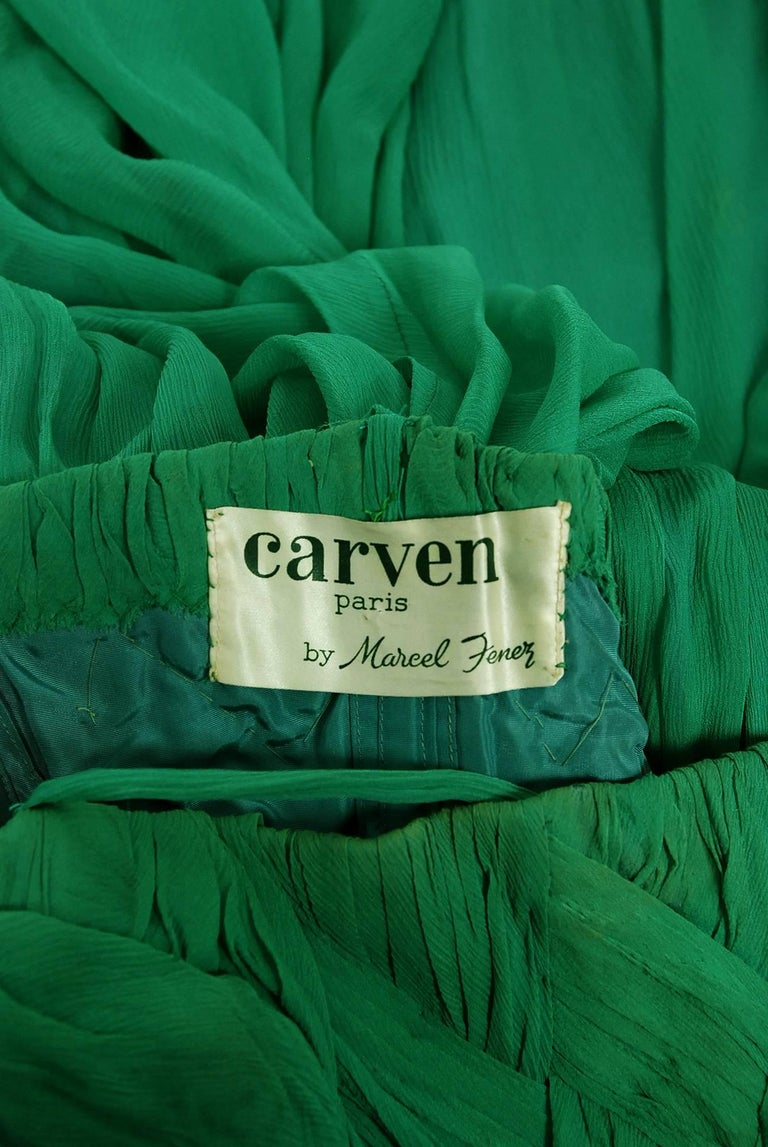 1961 Carven Couture Seafoam Green Ribbon Weave Crepe Chiffon Full-Skirted Dress For Sale 2