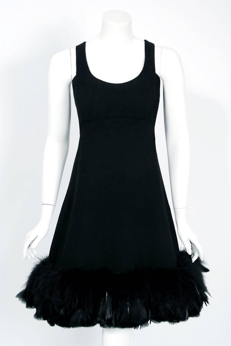 1967 Geoffrey Beene Documented Black Wool & Feather Tailored Cocktail Dress   In Excellent Condition For Sale In Beverly Hills, CA