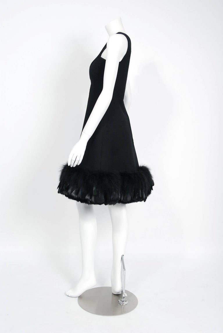 1967 Geoffrey Beene Documented Black Wool & Feather Tailored Cocktail Dress   For Sale 1