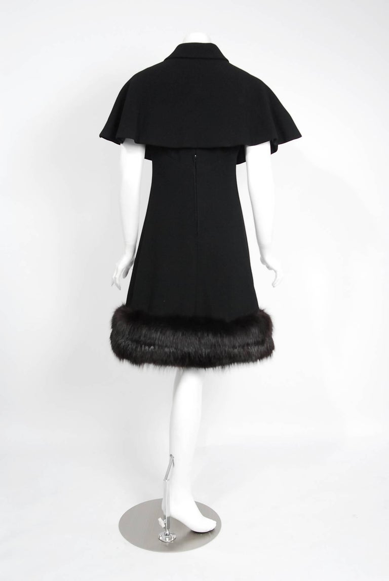 1965 Pauline Trigere Black Wool & Genuine Fox-Fur Cocktail Dress & Capelet Set For Sale 4