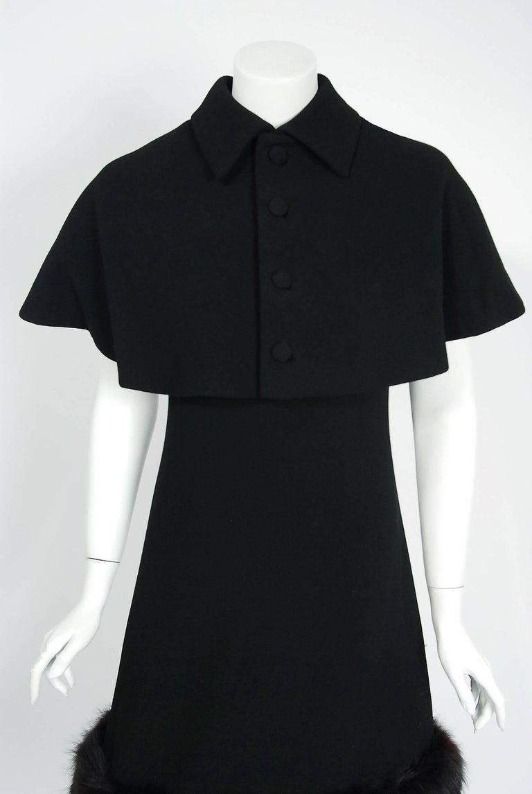 1965 Pauline Trigere Black Wool & Genuine Fox-Fur Cocktail Dress & Capelet Set 2