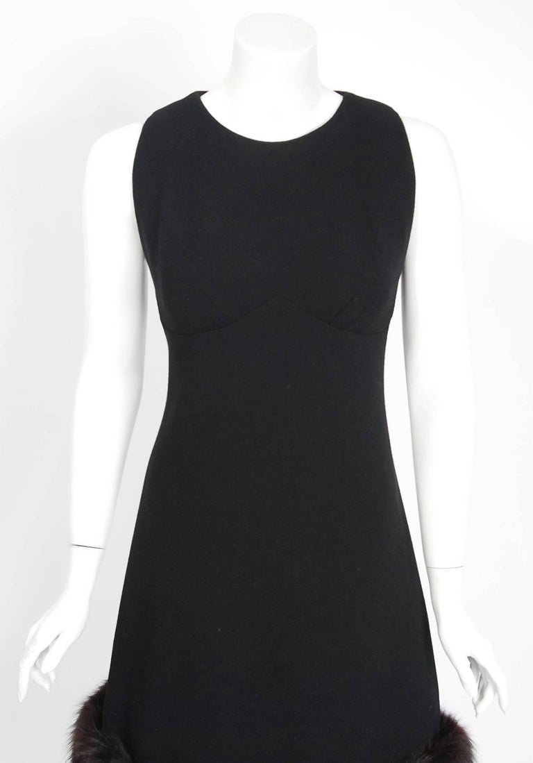 1965 Pauline Trigere Black Wool & Genuine Fox-Fur Cocktail Dress & Capelet Set 4