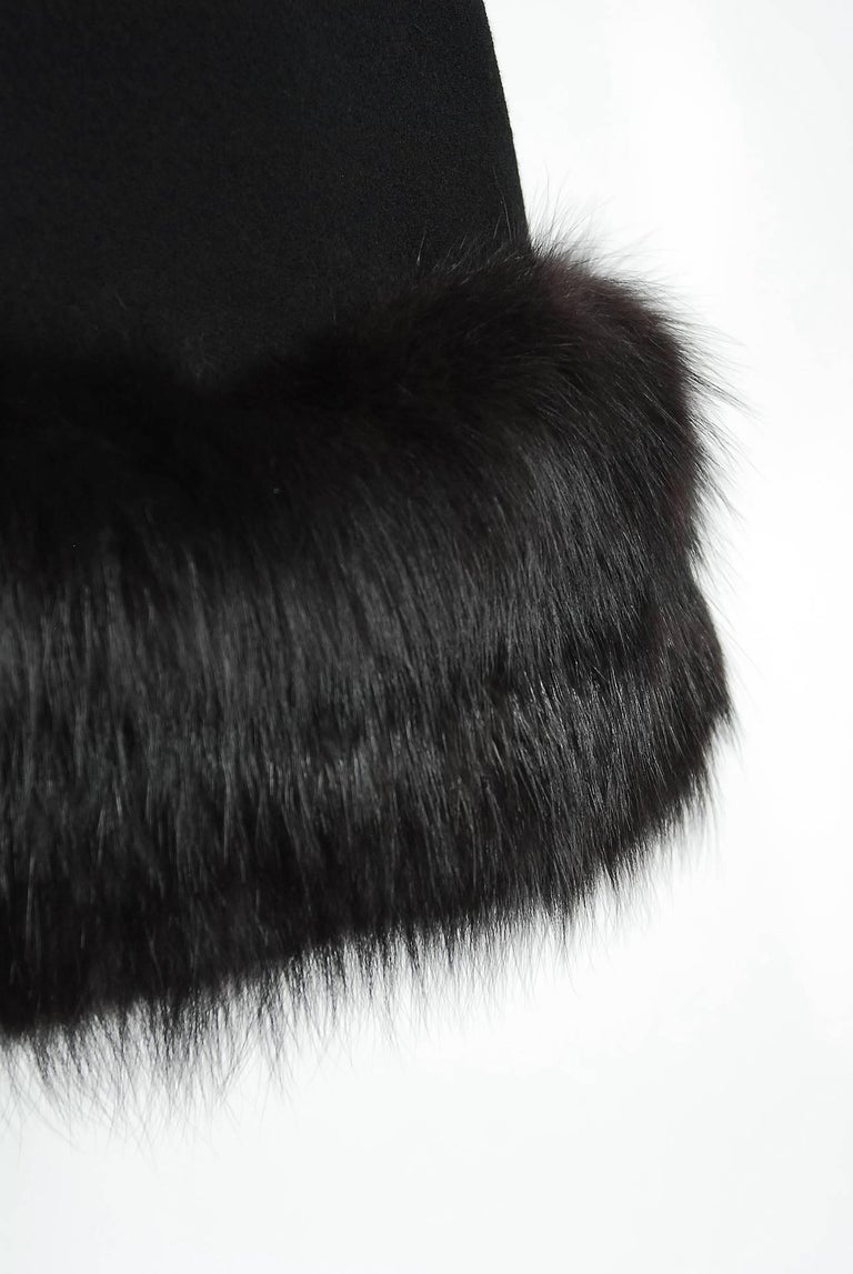 1965 Pauline Trigere Black Wool & Genuine Fox-Fur Cocktail Dress & Capelet Set For Sale 1