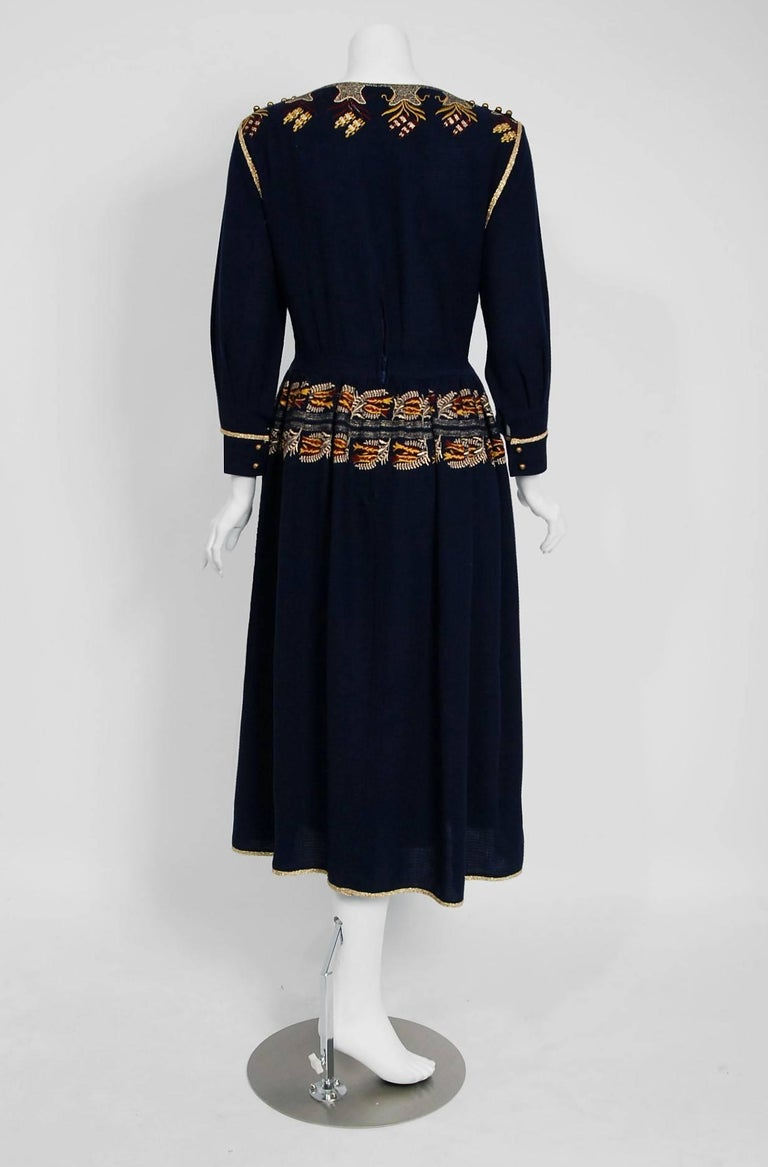 1979 Chloe by Karl Lagerfeld Documented Navy Embroidered Wool Bohemian Dress  8