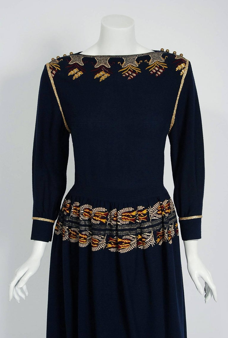 1979 Chloe by Karl Lagerfeld Documented Navy Embroidered Wool Bohemian Dress  3