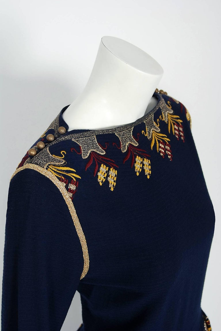 1979 Chloe by Karl Lagerfeld Documented Navy Embroidered Wool Bohemian Dress  4