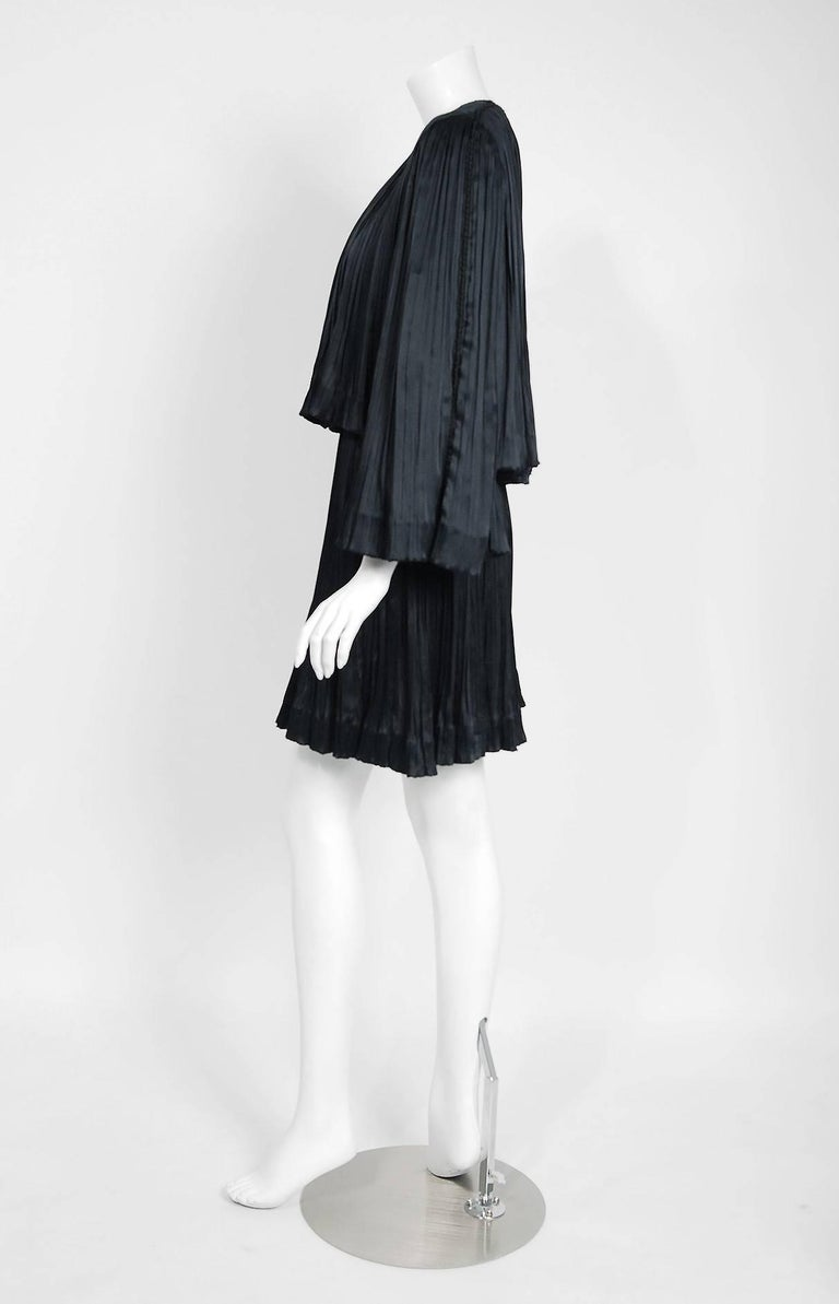 1977 Chanel Black Fortuny Pleated Silk Mini Cocktail Dress & Bell-Sleeve Jacket  6