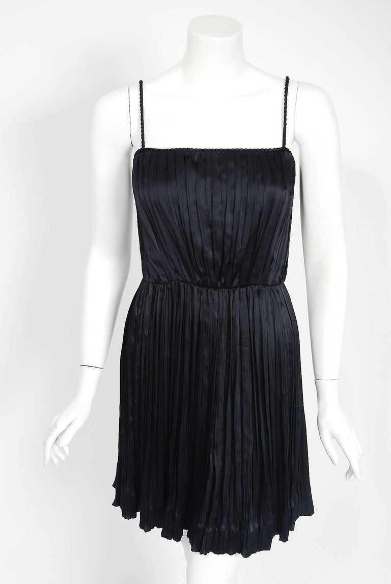 1977 Chanel Black Fortuny Pleated Silk Mini Cocktail Dress & Bell-Sleeve Jacket  3