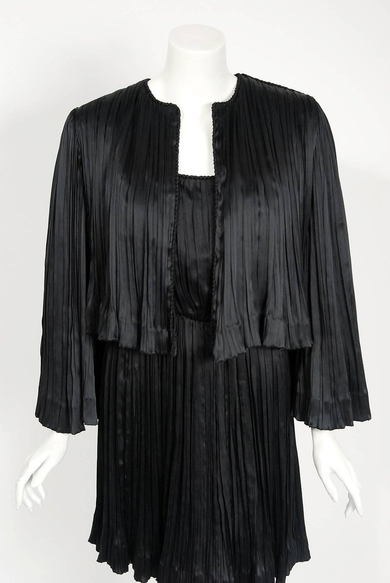 1977 Chanel Black Fortuny Pleated Silk Mini Cocktail Dress & Bell-Sleeve Jacket  2