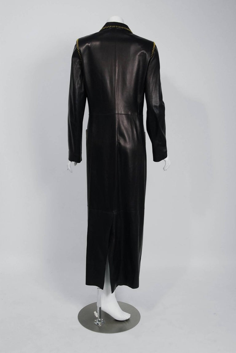 2000 Alexander McQueen for Givenchy Runway Whipstitch Black Leather Trench Coat 7