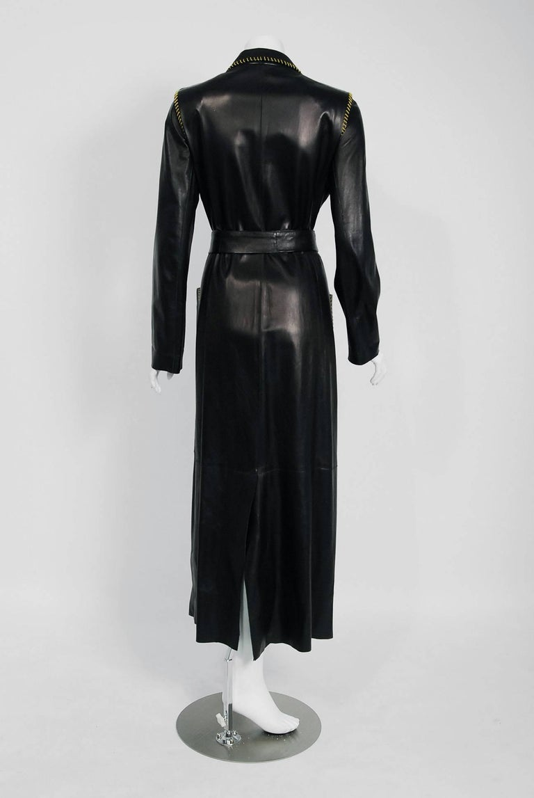 2000 Alexander McQueen for Givenchy Runway Whipstitch Black Leather Trench Coat 9