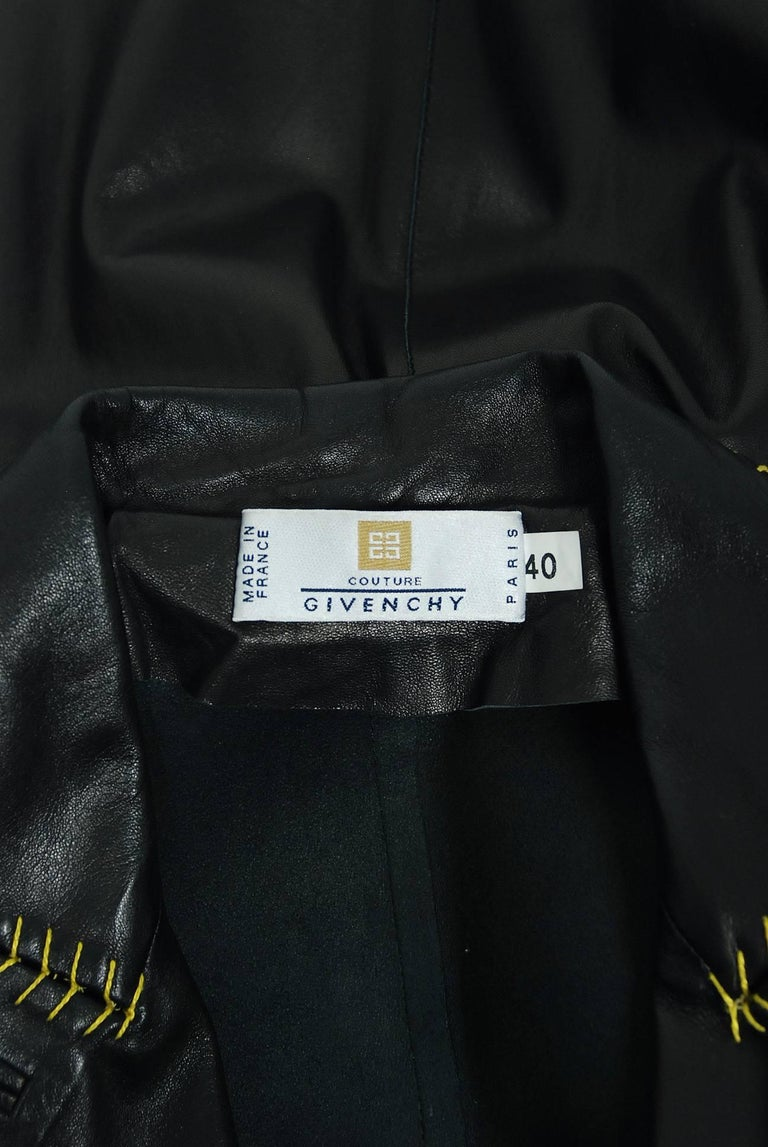 2000 Alexander McQueen for Givenchy Runway Whipstitch Black Leather Trench Coat 10