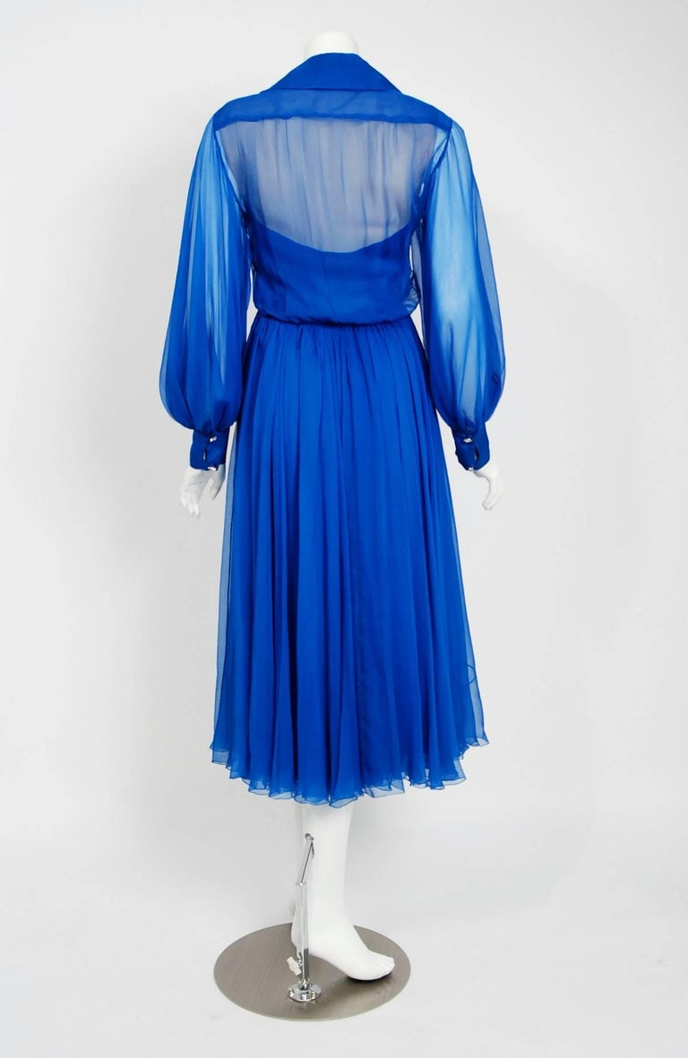 Women's Vintage 1973 Christian Dior Couture Sapphire Blue Chiffon Billow-Sleeve Dress For Sale